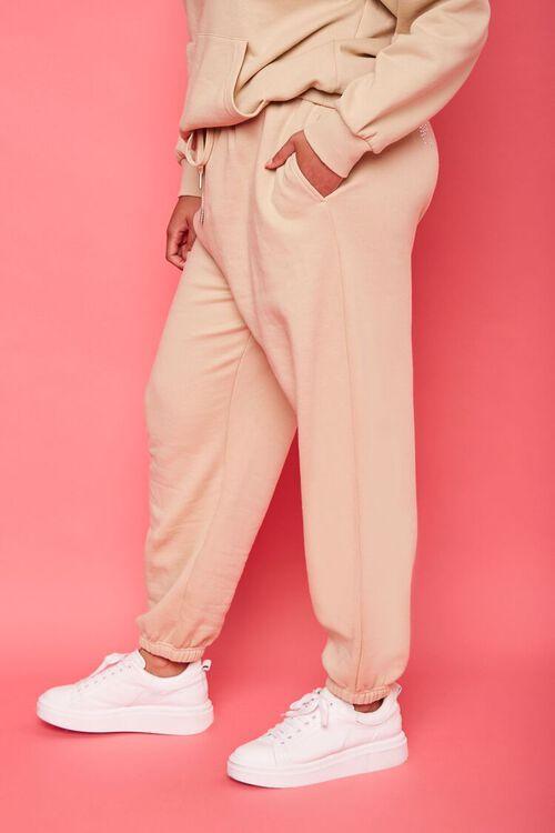 TAN/MULTI Plus Size Juicy Couture Fleece Joggers, image 4