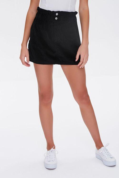 BLACK Paperbag Corduroy Mini Skirt, image 2