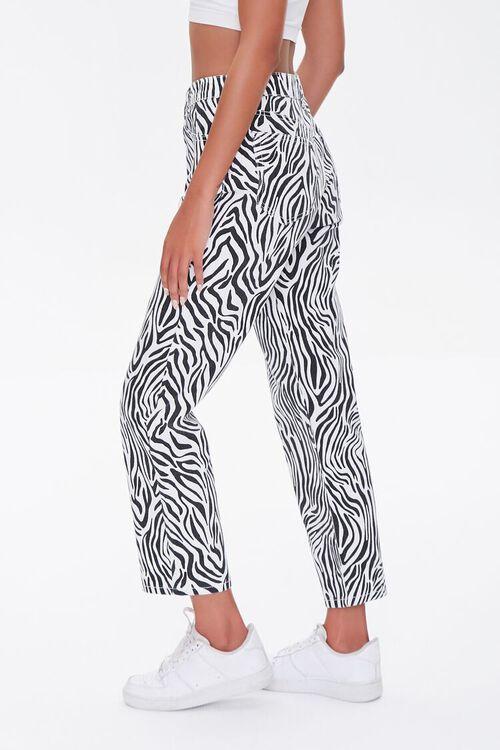 BLACK/WHITE Zebra Print Straight Jeans, image 3