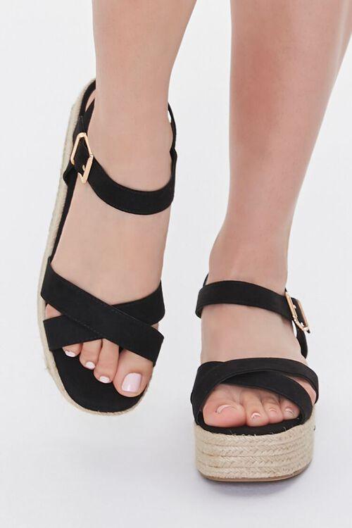 Faux Suede Espadrille Flatform Sandals, image 4