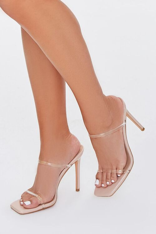 NUDE/CLEAR Faux Leather Stiletto Heels, image 1