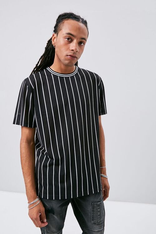 Vertical Striped Print Jersey Mesh Tee, image 1