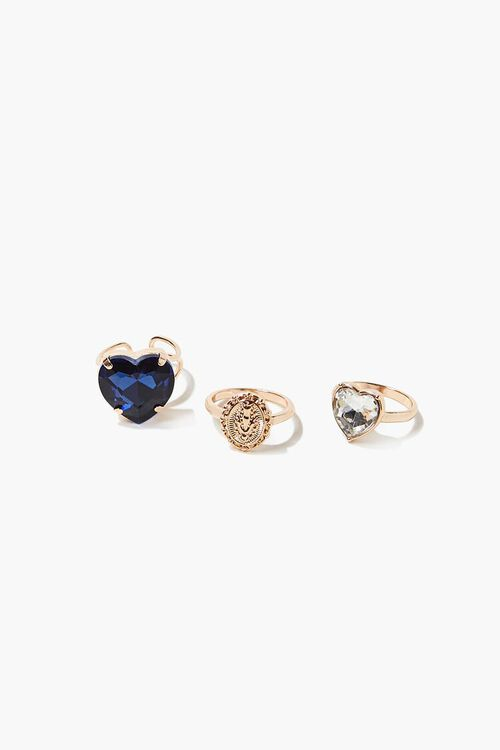 Faux Sapphire Heart Charm Ring Set, image 1