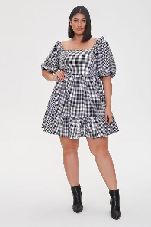 Plus Size Gingham Balloon-Sleeve Dress, image 4