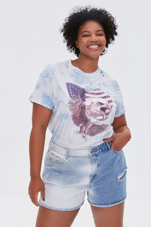 BLUE/MULTI Plus Size Bald Eagle Graphic Tee, image 1