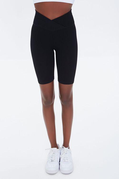 BLACK Active Seamless Notched Biker Shorts, image 2