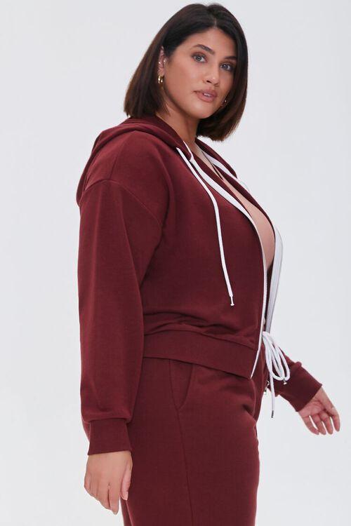 WINE Plus Size Fleece Zip-Up Hoodie, image 2