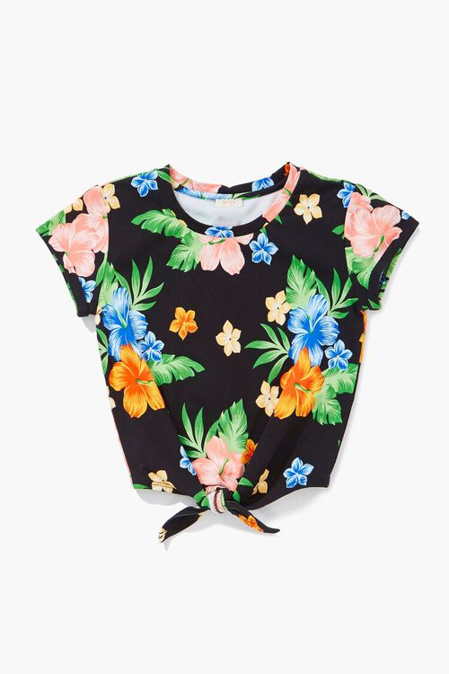 Girls Tropical Print Knotted Tee (Kids), image 1