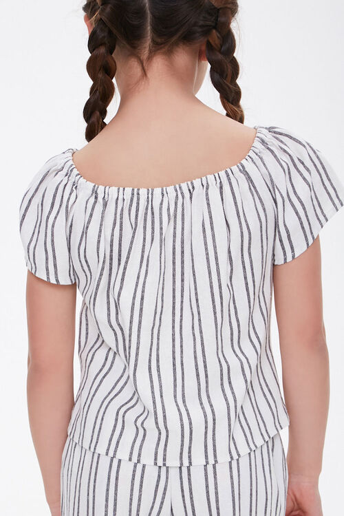 Girls Striped Self-Tie Top (Kids), image 2