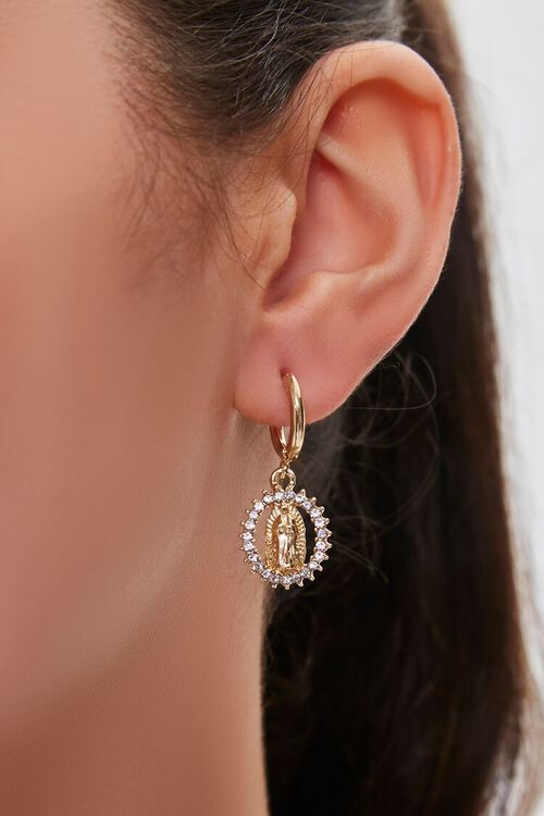 GOLD/CLEAR Our Lady of Guadalupe Pendant Drop Earrings, image 1
