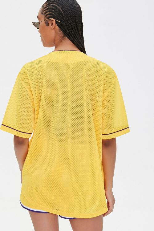 Lakers Graphic Buttoned Mesh Top, image 3