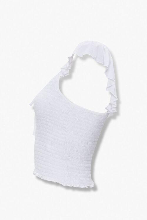 WHITE Smocked Flounce-Sleeve Top, image 2
