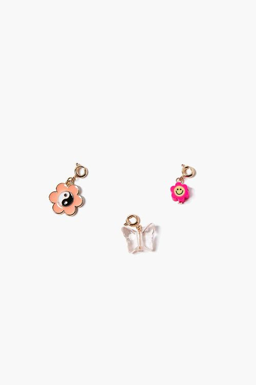 GOLD/PINK Peace & Butterfly Charm Set, image 1