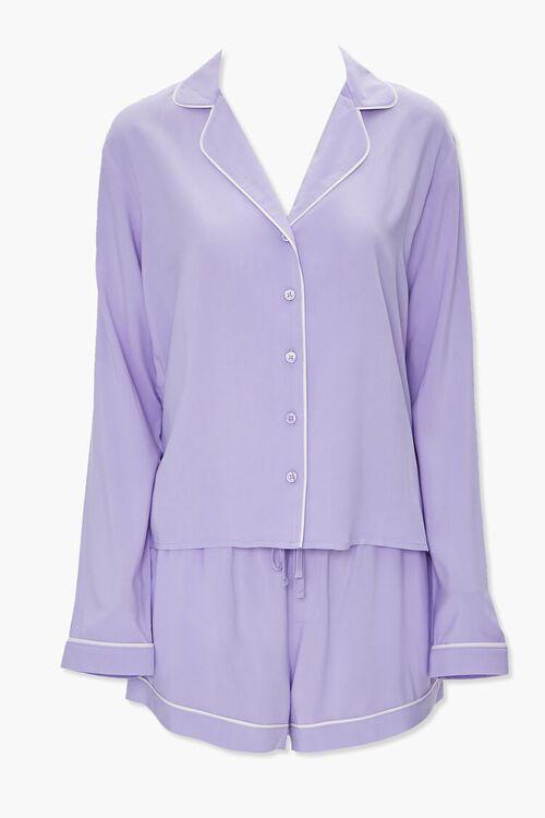 Piped-Trim Shirt & Shorts PJ Set, image 1