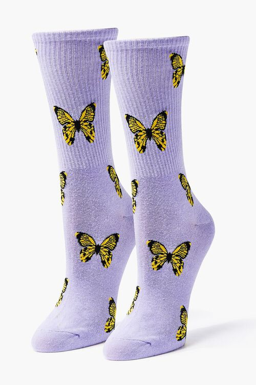 Butterfly Print Crew Socks, image 1