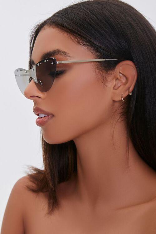 Studded Mirror Cat-Eye Sunglasses, image 2