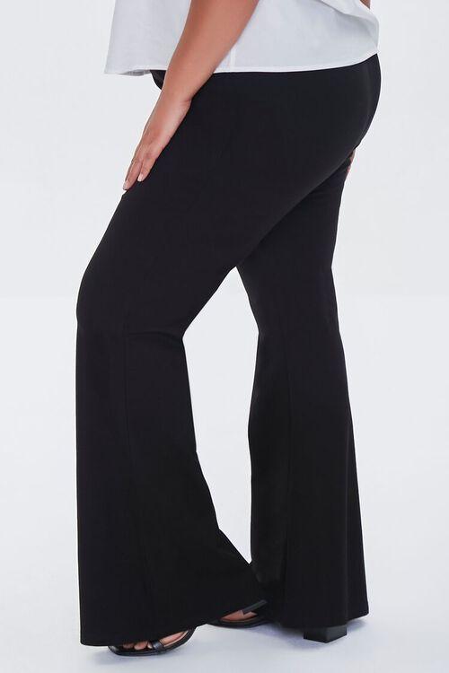 BLACK Plus Size Ponte Knit Flare Pants, image 3
