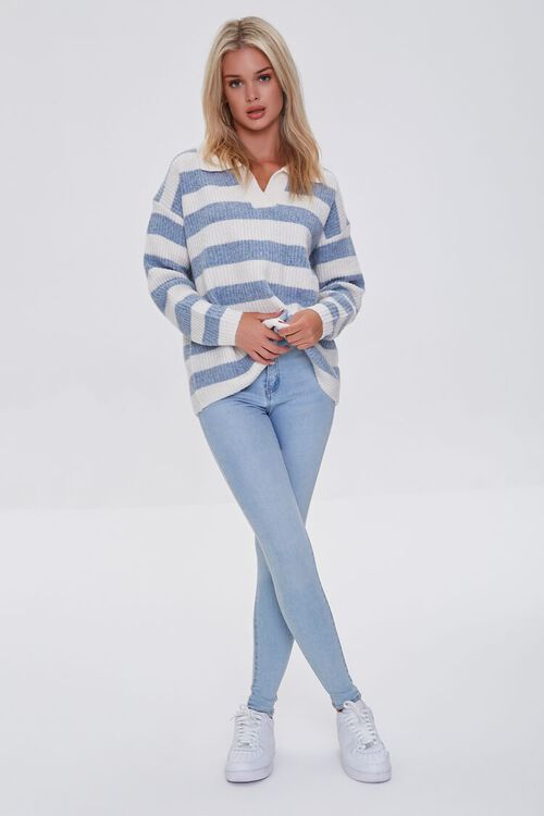 BLUE/IVORY Striped Sweater-Knit Pullover, image 4