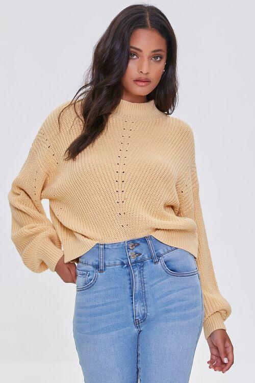 YELLOW Mock Neck Ribbed Sweater, image 1
