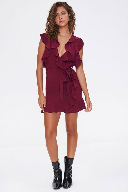 Chiffon Ruffle-Trim Wrap Dress, image 4