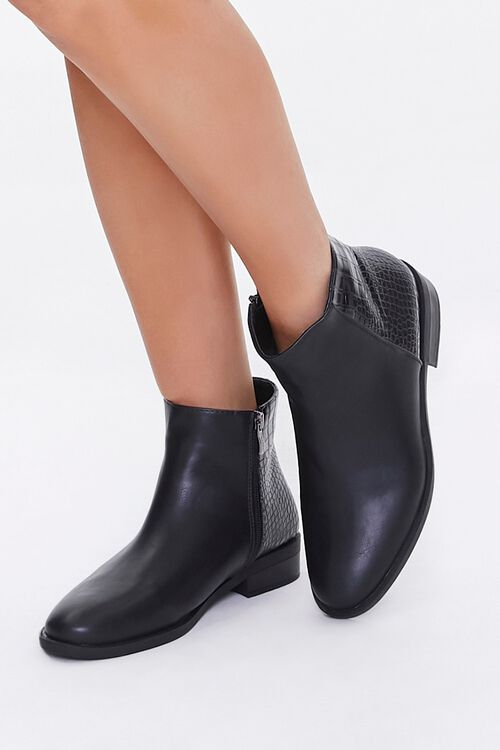 Faux Croc Leather Booties, image 1