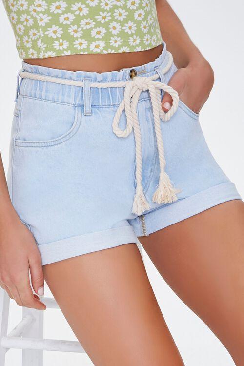 Rope Belt High-Rise Denim Shorts, image 1