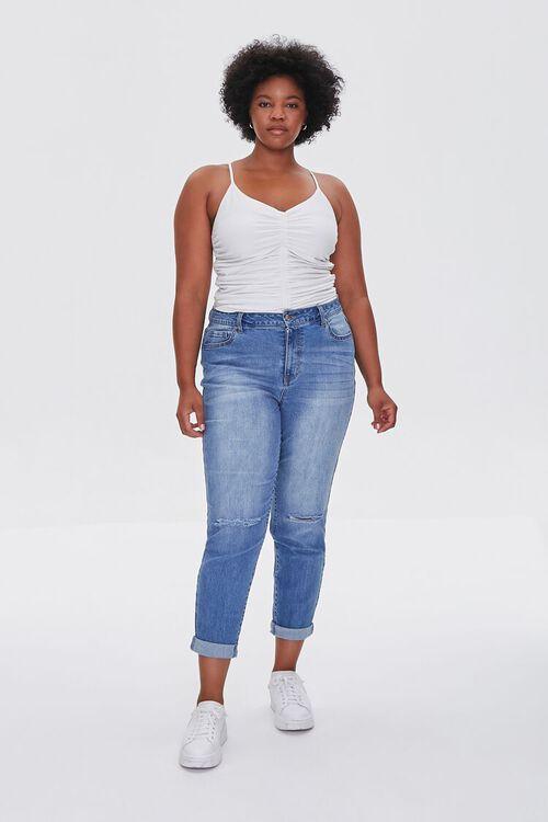 MEDIUM DENIM Plus Size Premium Boyfriend Jeans, image 1