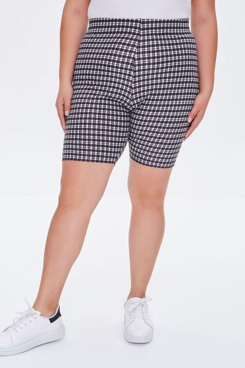 Plus Size Gingham Biker Shorts, image 2