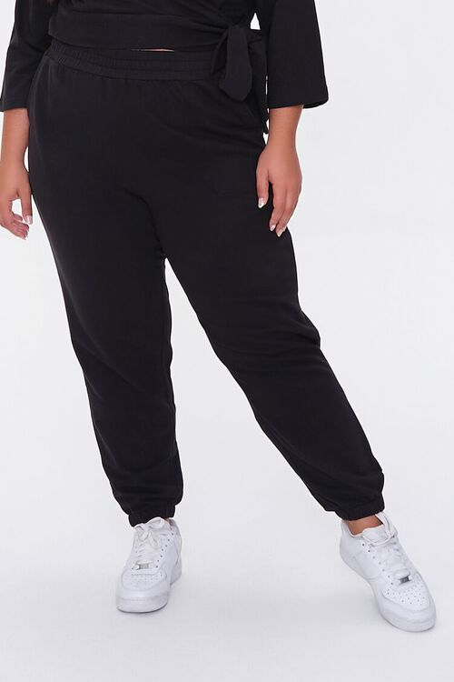 BLACK Plus Size Wrap Top & Joggers Set, image 5