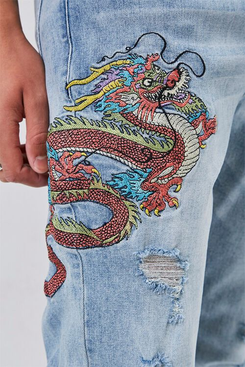 Dragon Embroidered Graphic Jeans, image 6