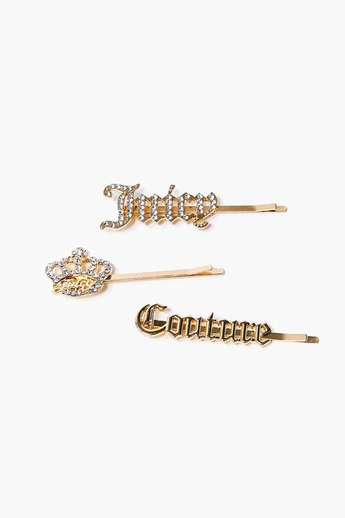 GOLD Juicy Couture Rhinestone Bobby Pin Set, image 1