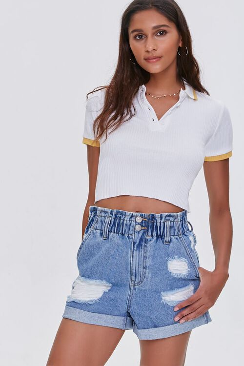 Distressed Denim Paperbag Shorts, image 1