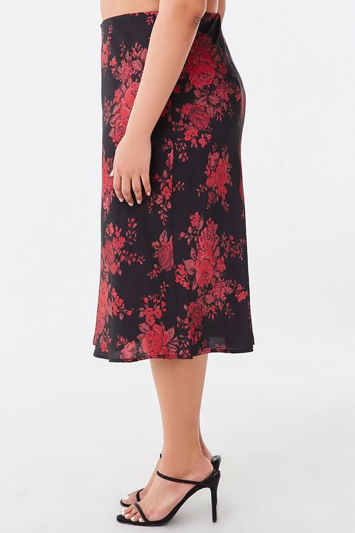 Plus Size Floral Satin Skirt, image 3