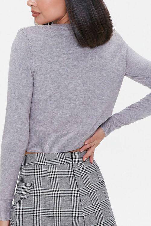 HEATHER GREY Shoulder-Pad Cardigan Sweater, image 3