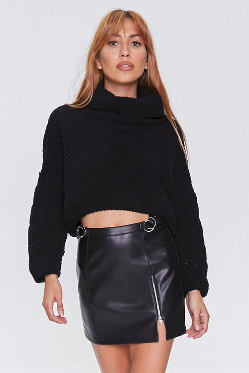 BLACK Faux Leather Mini Skirt, image 1