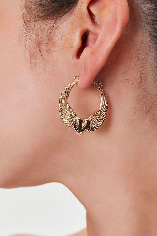 Heart Wing Hoop Earrings, image 1