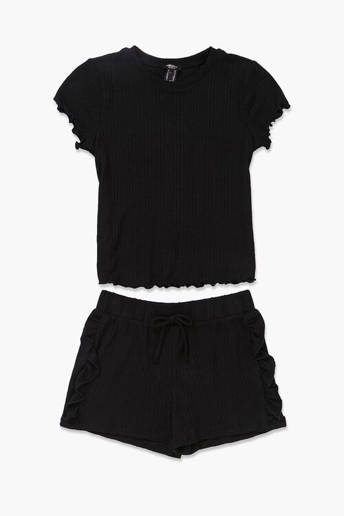 Girls Ribbed Tee & Shorts Set (Kids), image 1