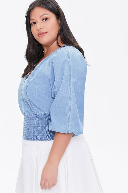 Plus Size Smocked Chambray Top, image 2