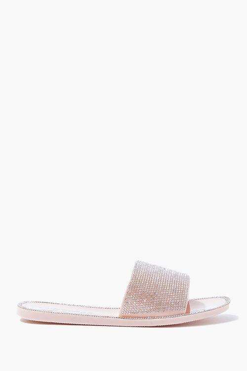 NUDE Rhinestone Slide Sandals, image 1