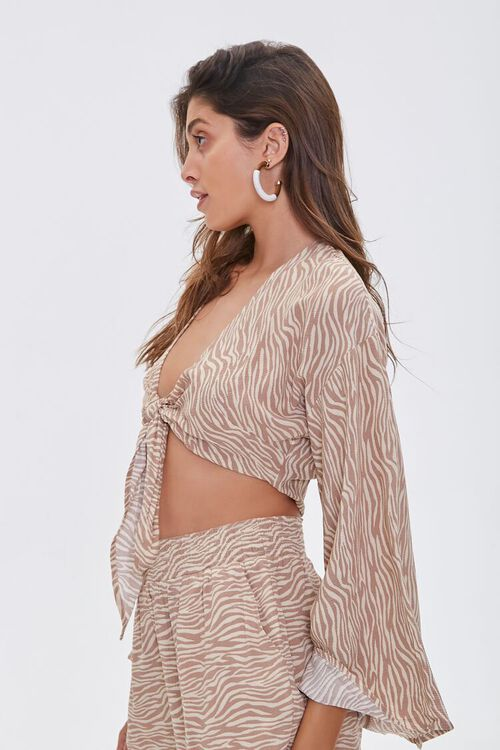 Tiger Print Knotted Crop Top, image 3
