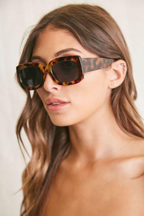 BLACK/MULTI Rectangle Frame Sunglasses, image 2
