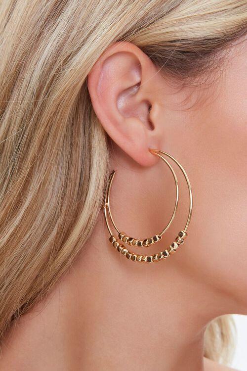 Beaded Dual Hoop Earrings, image 1