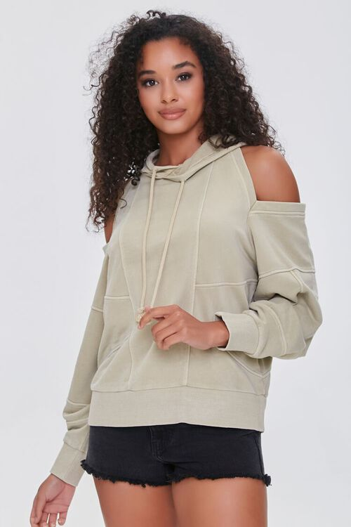 TAUPE Open-Shoulder Seamed Hoodie, image 1