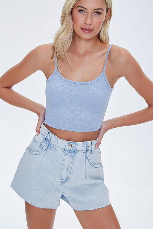 LIGHT DENIM Raw-Cut Denim Shorts, image 1