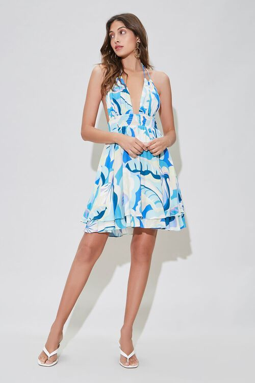 Abstract Tropical Print Fit & Flare Dress, image 5