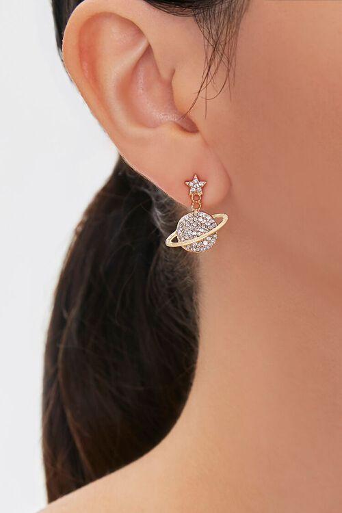 GOLD/CLEAR Rhinestone Saturn Pendant Drop Earrings, image 1