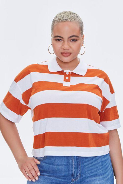 Plus Size Striped Polo Shirt, image 5