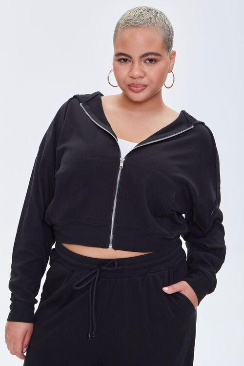 BLACK Plus Size Zip-Up Hoodie, image 4