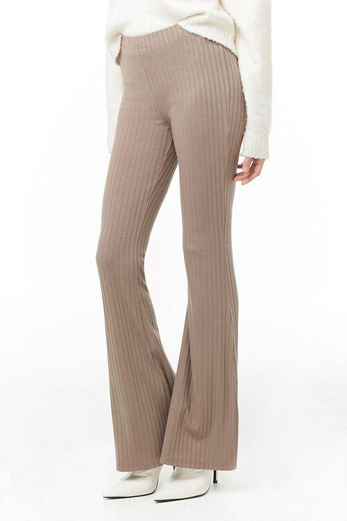 Ribbed Knit Flare Pants, image 1