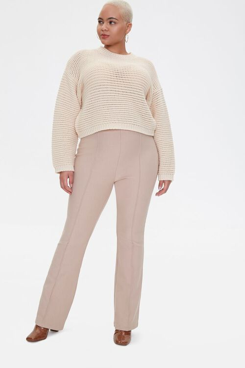Plus Size Seamed Flare Pants, image 1